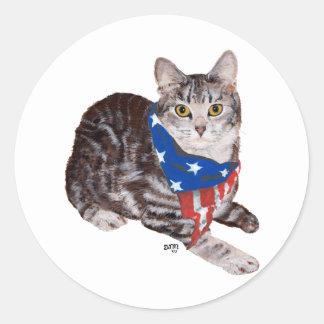 Patriotic American Shorthair Tabby Cat Classic Round Sticker