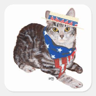 Patriotic American Shorthair Tabby Cat Square Sticker