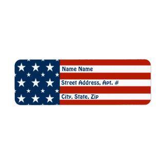 """Patriotic American""  Stars & Stripes Flag Return Address Label"