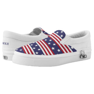 Patriotic American Stars Stripes USA Flag Monogram Slip On Shoes