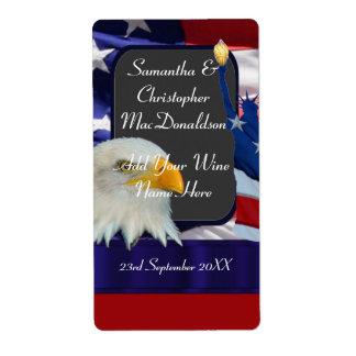 Patriotic American themed wedding wine bottle
