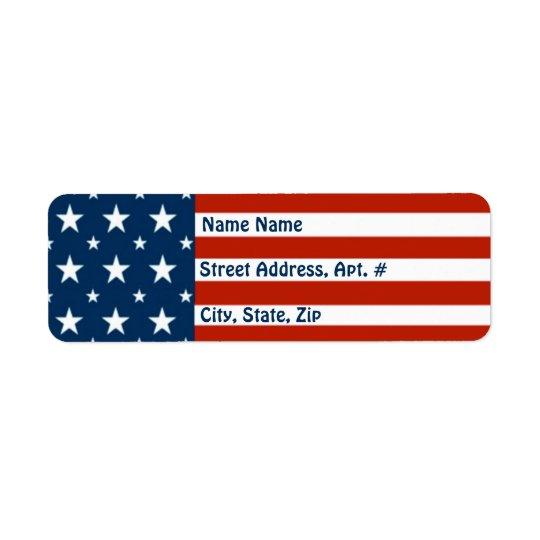 [Patriotic American]  USA Stars & Stripes Flag Return Address Label