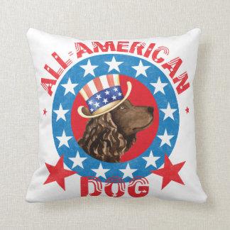 Patriotic American Water Spaniel Cushion