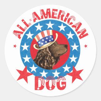 Patriotic American Water Spaniel Round Sticker