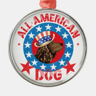 Patriotic American Water Spaniel Silver-Colored Round Decoration