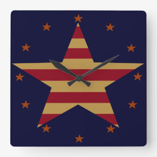 PATRIOTIC AMERICANA STAR CLOCK