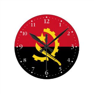 Patriotic Angolan Flag Round Clock