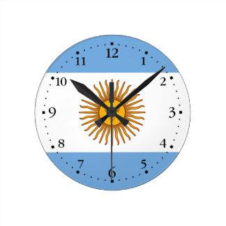 Patriotic Argentinian Flag Round Clock