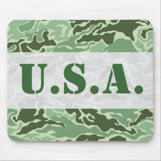 Patriotic Army Custom Green Camouflage Designs Mousepads