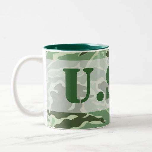 Patriotic Army Custom Green Camouflage Designs Coffee Mugs