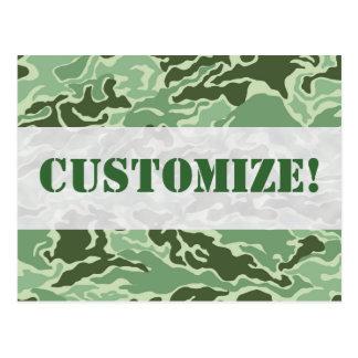 Patriotic Army Custom Green Camouflage Designs Postcard