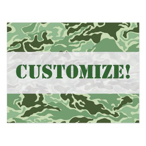 Patriotic Army Custom Green Camouflage Designs Post Card