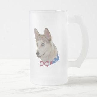 Patriotic Ausky Dog Frosted Glass Mug