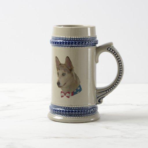 Patriotic Ausky Dog Mugs
