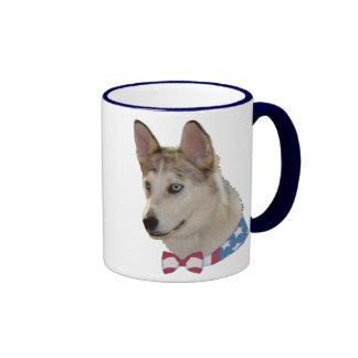 Patriotic Ausky Dog Ringer Mug