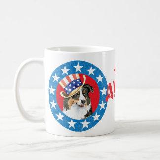Patriotic Australian Shepherd Classic White Coffee Mug