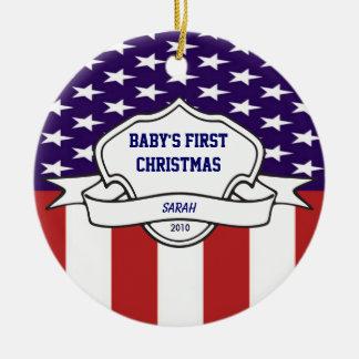 Patriotic Babys First Christmas Custom Photo Christmas Ornament
