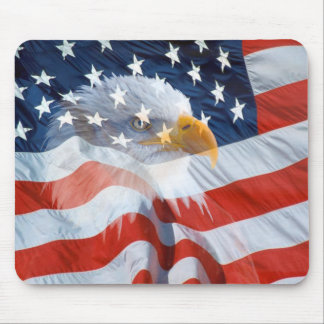 Patriotic Bald Eagle American Flag Mouse Pad
