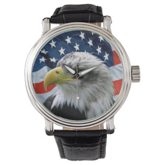 Patriotic Bald Eagle American Flag Numberles Watch