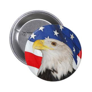 Patriotic Bald Eagle and American Flag 6 Cm Round Badge