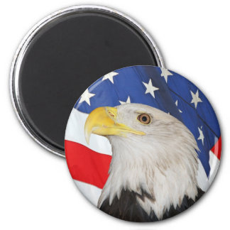 Patriotic Bald Eagle and American Flag 6 Cm Round Magnet