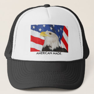 Patriotic Bald Eagle and American Flag Trucker Hat