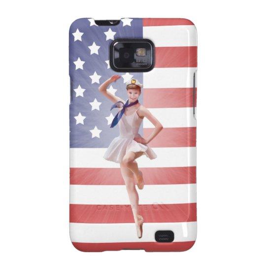 Patriotic Ballerina, USA Flag Samsung Galaxy S2 Cover