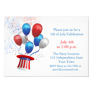 Patriotic Balloons, 4th of July 5x7 Paper Invitation Card