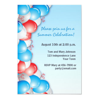 Patriotic Balloons Custom Invite