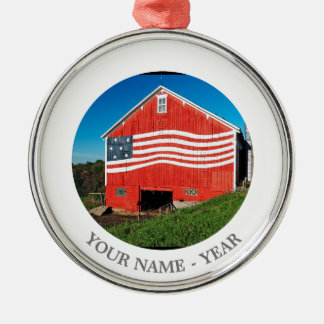 Patriotic Barn Christmas Ornament