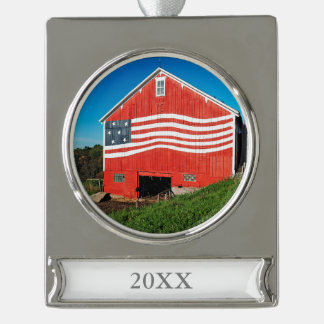 Patriotic Barn Silver Plated Banner Ornament