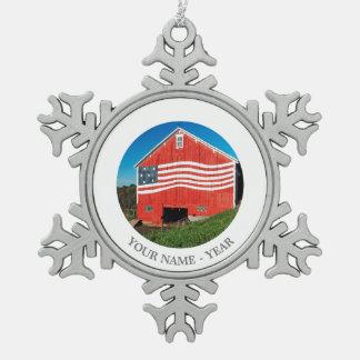 Patriotic Barn Snowflake Pewter Christmas Ornament