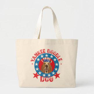 Patriotic Basset Large Tote Bag
