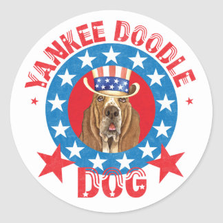 Patriotic Basset Round Sticker