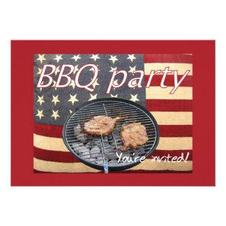 Patriotic BBQ Custom Invitation