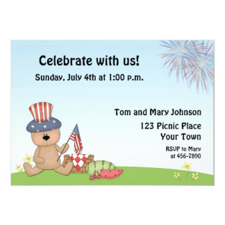 Patriotic Bear Picnic, BBQ Invitation