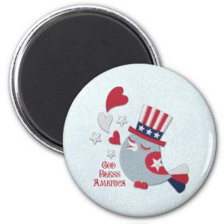 Patriotic Bird Tweets God Bless America 6 Cm Round Magnet