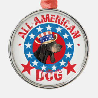 Patriotic Black and Tan Coonhound Silver-Colored Round Decoration