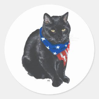 Patriotic Black Cat Classic Round Sticker