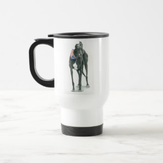 Patriotic Black Greyhound Dog Art Travel Mug