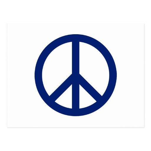 Patriotic Blue Peace Symbol Post Card