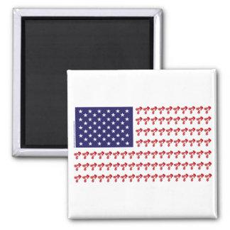 Patriotic BMX Biker American Flag Square Magnet