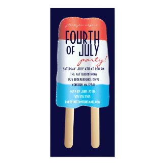 Patriotic Bombpop Red White Blue 4th of July Party 10 Cm X 24 Cm Invitation Card