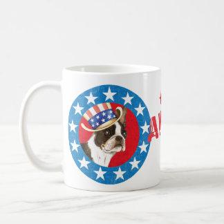 Patriotic Boston Terrier Classic White Coffee Mug