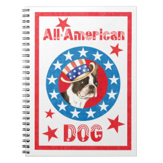 Patriotic Boston Terrier Spiral Note Book