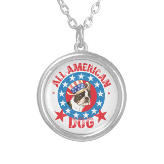 Patriotic Boston Terrier Silver Plated Necklace