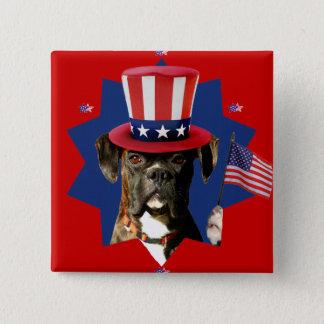 Patriotic Boxer Dog button