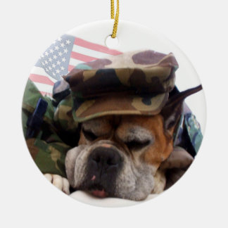 Patriotic Boxer dog ornament
