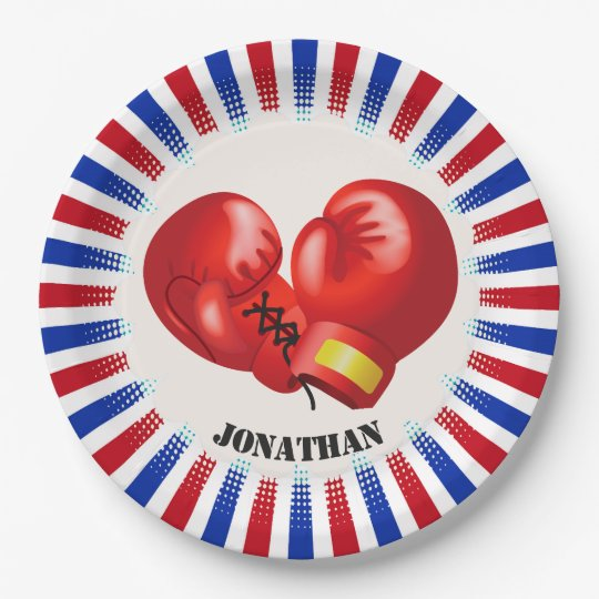 Patriotic Boxing Gloves Design Paper Party Plate
