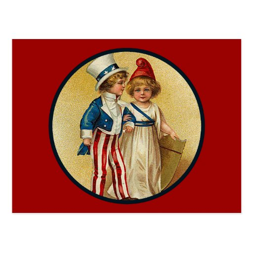Patriotic_Boy and Girl_Postcard Post Cards